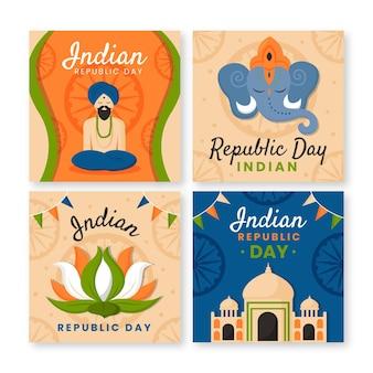 Kolekcja postów na instagramie z płaskim dniem niepodległości w indiach