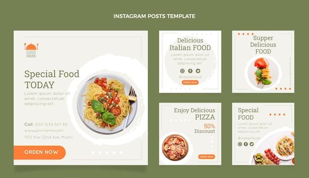 Kolekcja postów na instagramie z płaskim jedzeniem