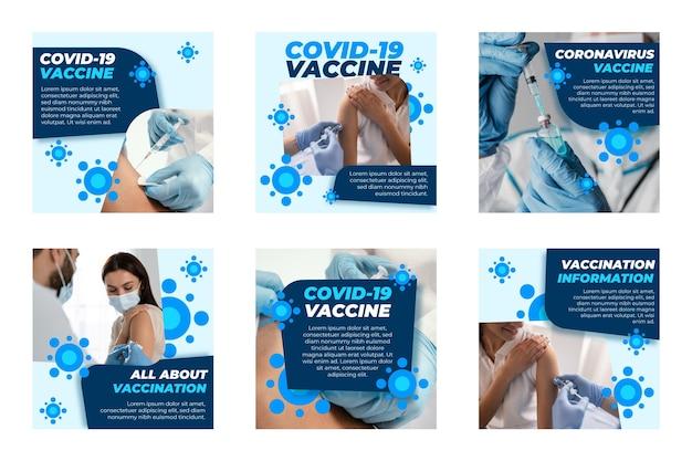 Kolekcja postów na instagramie z płaskim koronawirusem
