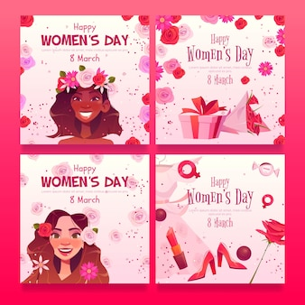 Kolekcja postów na instagramie z płaskim międzynarodowym dniem kobiet