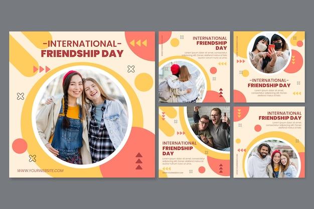 Kolekcja postów na instagramie z płaskim międzynarodowym dniem przyjaźni