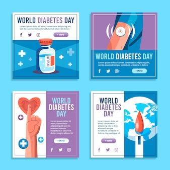 Kolekcja postów na instagramie z płaskim światowym dniem cukrzycy