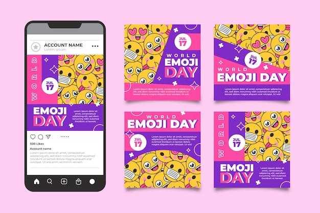 Kolekcja postów na instagramie z płaskim światowym dniem emoji