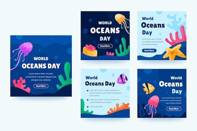 Kolekcja postów na instagramie z płaskim światowym dniem oceanów