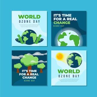 Kolekcja postów na instagramie z płaskim światowym dniem ozonu