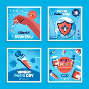 Kolekcja postów na instagramie z płaskim światowym dniem polio