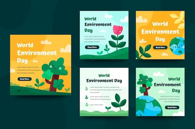 Kolekcja postów na instagramie z płaskim światowym dniem środowiska