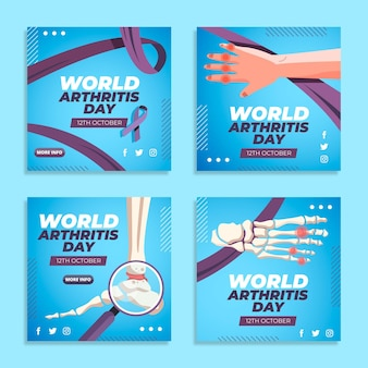 Kolekcja postów na instagramie z płaskim światowym dniem zapalenia stawów