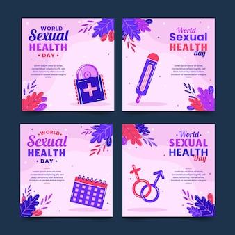 Kolekcja postów na instagramie z płaskim światowym dniem zdrowia seksualnego