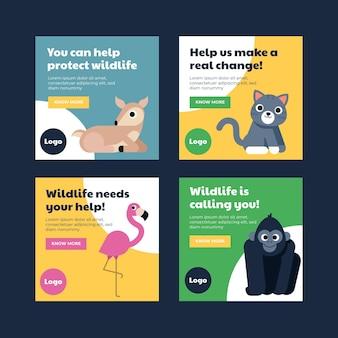 Kolekcja postów na instagramie z płaskim światowym dniem zwierząt