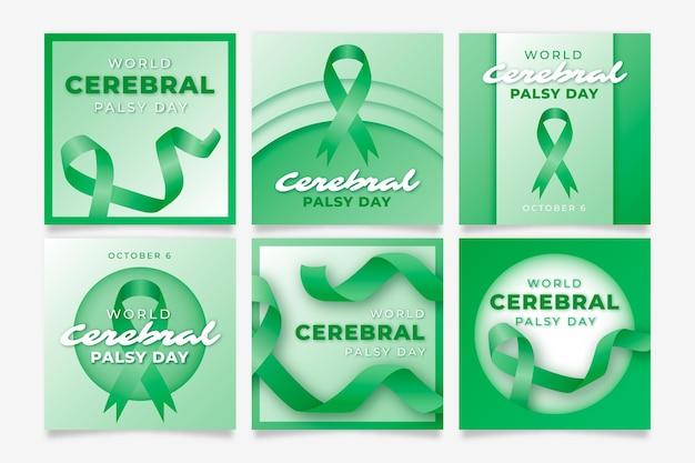 Kolekcja postów na instagramie z realistycznym światowym porażeniem mózgowym