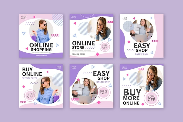 Kolekcja postów na instagramie zakupów online