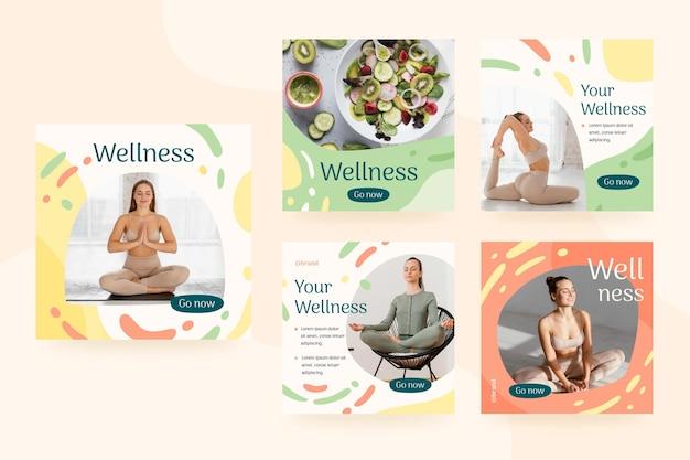 Kolekcja postów na instagramie zdrowia i fitness ze zdjęciem
