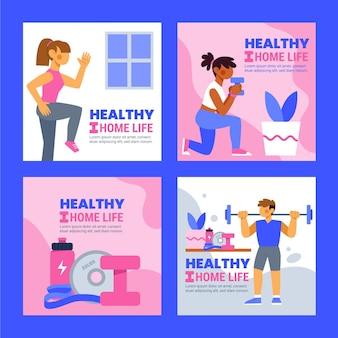 Kolekcja postów na instagramie zdrowia i fitness