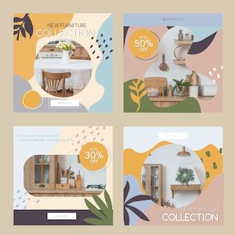 Kolekcja postów na instagramie ze sprzedażą ekologicznych mebli płaskich