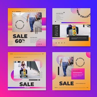 Kolekcja postów na instagramie ze sprzedażą gradientową