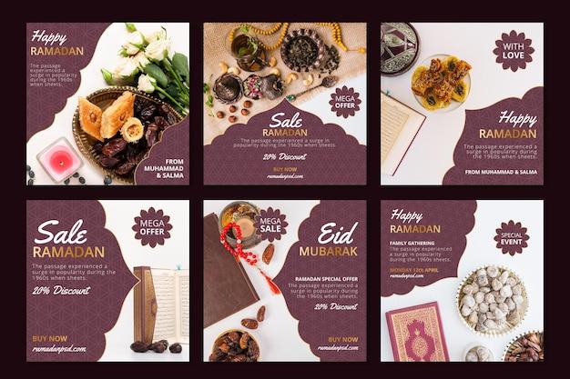 Kolekcja postów na instagramie ze sprzedażą ramadanu
