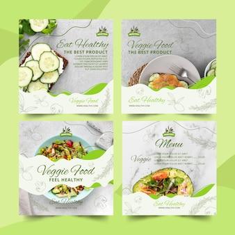 Kolekcja postów na instagramie ze zdrową żywnością