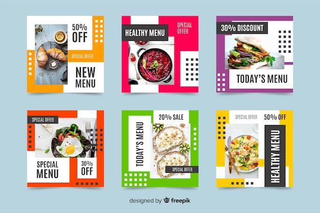 Kolekcja postów na instagramie ze zdrowym menu ze zdjęciem