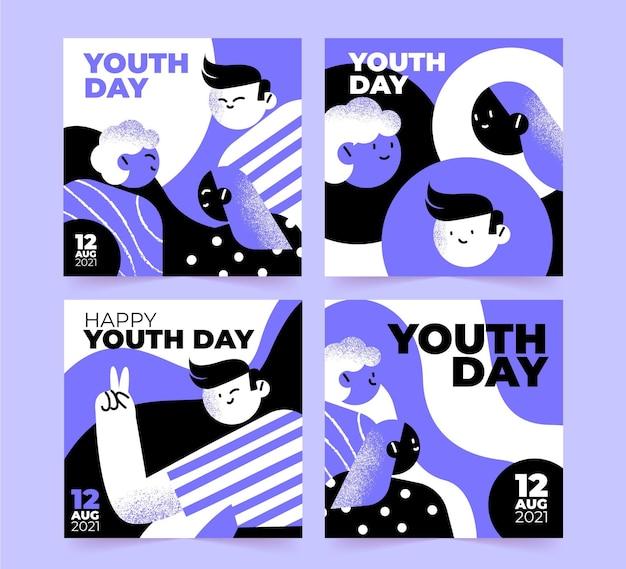 Kolekcja postów na międzynarodowym dniu młodzieży na instagramie youth