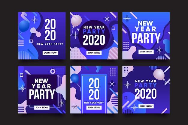 Kolekcja postów na nowy rok na instagramie