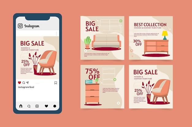Kolekcja postów na sprzedaż mebli płaskich na instagramie