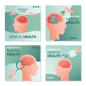 Kolekcja postów na temat zdrowia psychicznego na instagramie