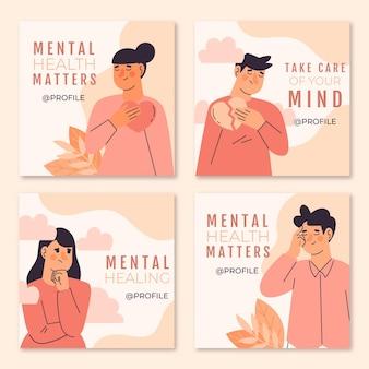 Kolekcja Postów Na Temat Zdrowia Psychicznego Na Instagramie Darmowych Wektorów