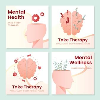 Kolekcja postów na temat zdrowia psychicznego w mediach społecznościowych