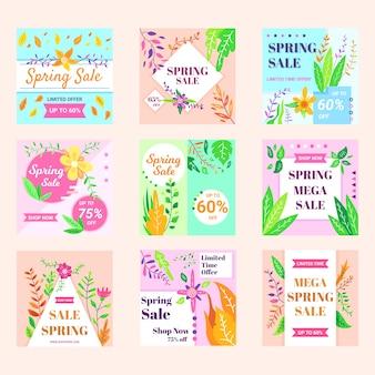Kolekcja postów na wiosenną wyprzedaż na instagramie