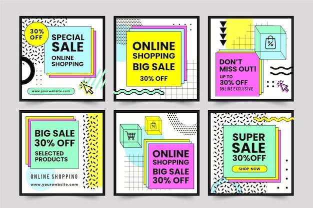 Kolekcja postów na zakupy online na instagramie