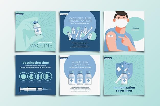 Kolekcja postów płaskich szczepionek na instagramie