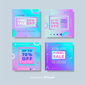 Kolekcja postów sprzedażowych z gradientowym instagramem