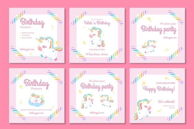 Kolekcja postów urodzinowych dla dzieci jednorożca na instagramie