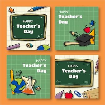 Kolekcja postów w mediach społecznościowych z okazji dnia nauczyciela