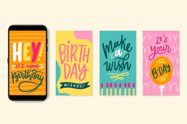Kolekcja postów z okazji urodzin w mediach społecznościowych