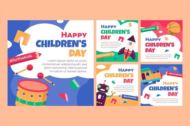 Kolekcja postów z płaskiego świata na dzień dziecka na instagramie