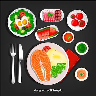 Kolekcja potraw obiadowych