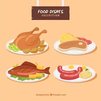 Kolekcja potraw z płaskim designem