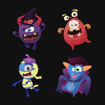 Kolekcja potworów halloween z kostiumami