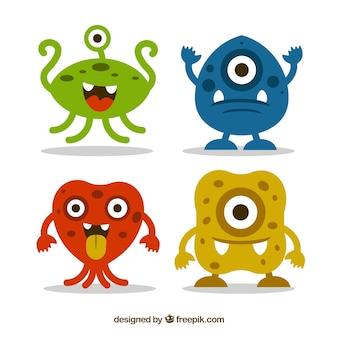 Kolekcja potworów w czterech kolorach