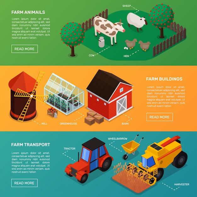 Kolekcja poziome banery rolnicze