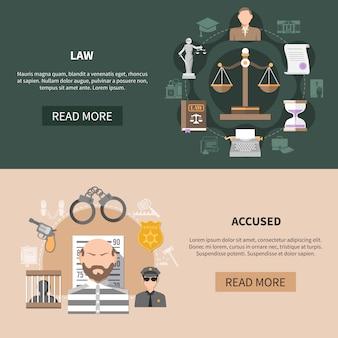 Kolekcja poziome transparenty sądownictwa