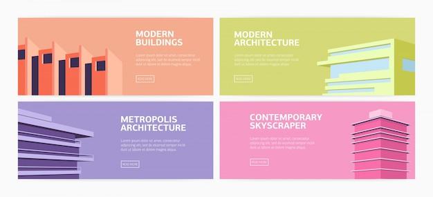 Kolekcja poziomych banerów internetowych nowoczesne budynki, wieżowce współczesnej architektury metropolii