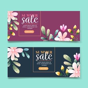 Kolekcja poziomych banerów na sprzedaż z kwiatami w akwarela