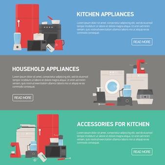 Kolekcja poziomych banerów z urządzeniami gospodarstwa domowego i kuchni, akcesoriami, przyborami, narzędziami elektronicznymi i ręcznymi oraz miejscem na tekst. nowoczesna ilustracja kolorowy w stylu płaski.