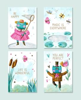 Kolekcja pozytywnych kart z kreskówkowymi żabami