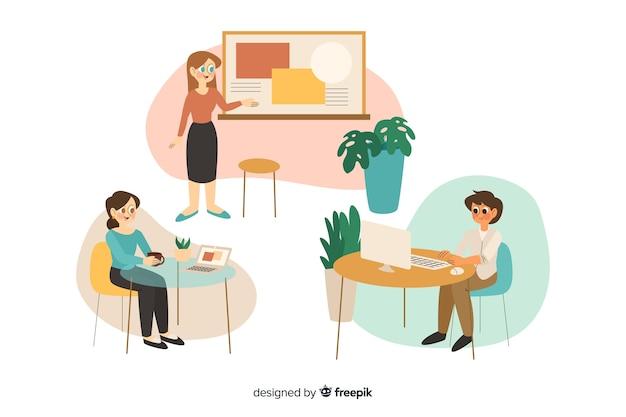 Kolekcja pracowników biurowych siedzących przy biurkach