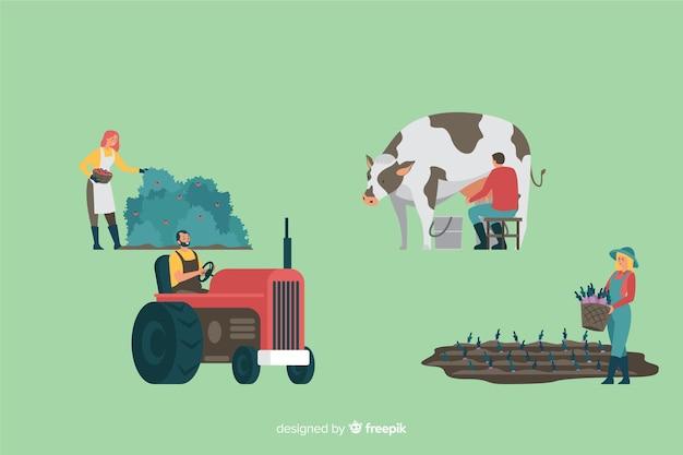 Kolekcja pracowników rolnych płaska