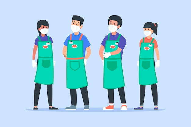 Kolekcja pracowników supermarketów